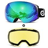 Odoland Magnetic Interchangeable Ski Goggles with 2 Lens, Large Spherical Frameless Snow Goggles for Men & Women, OTG and UV400 Protection - VLT 18% Green +83% Yellow