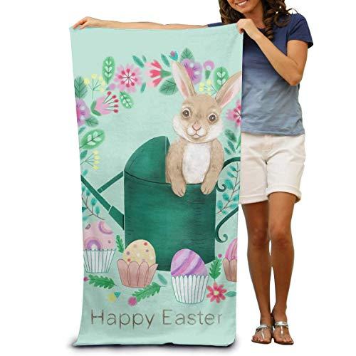 Funny Z Feliz Pascua Huevos de Colores Conejo Olla temática Personalidad Toalla de baño de Secado rápido Manta de Playa Toallas 130x80cm