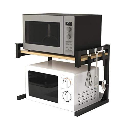 zyl Estante Organizador de Cocina Estante para Horno microondas Estante de 2 Capas para Especias para el hogar Estante de Almacenamiento para electrodomésticos de Cocina con Ganchos encimera de