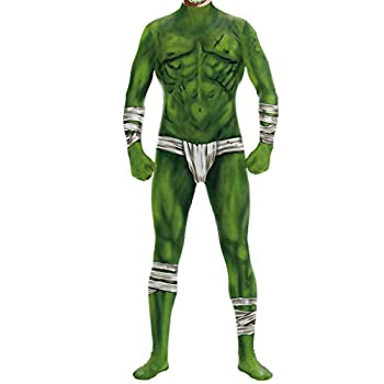 Goddesslili Mens Costumes Halloween 2019 Scary Green Muscle Monster Design One Piece Zipper Cosplay Bodysuit Costumes for Men Teen Boys Student Party Wear  XL