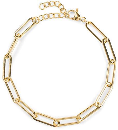 styleBREAKER Damen Edelstahl Armkette ohne Anhänger mit grober Gliederkette, Schmuck 05040185, Farbe:Gold