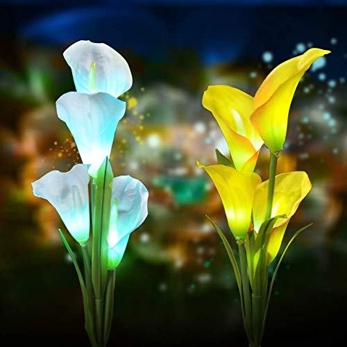 Solar Flower Lights Outdoor Decorative - Outdoor Solar Garden Stake Lights Calla Lily 7 Multi-Color Changing Waterproof LED Solar Lights for Garden,Patio,Backyard Decor 2 Pack