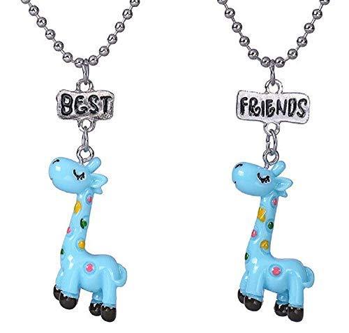 Inception Pro Infinite Dos collares de niña – Mejores amigos para 2 – Amistad – Kawaii X 2 – Best Friends – BFF – Jirafa – Color azul – Navidad – Pareja