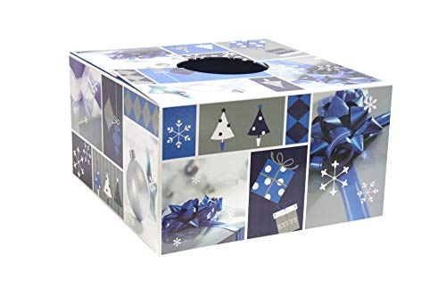 Christmas Tree Box New! The Original Tree Stand Cover - Blue & Silver Design (Size Large 20')