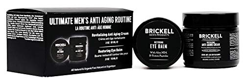 Brickell Men's Ultimate Anti Aging Routine - Nachtcreme & Augencreme gegen Falten und Augenringe - Anti Falten Creme gegen Tränensäcke & geschwollene Augen - Natürlich & organisch - Unparfümiert