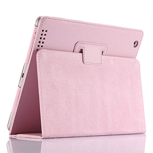 FAN SONG iPad 2 3 4 Case Bi-fold Series Litchi Stria Ultra Thin Magnetic PU Leather Smart Protective Cover Case [Flip Stand,Sleep Function] for Apple iPad 2 3 4 (Pink)