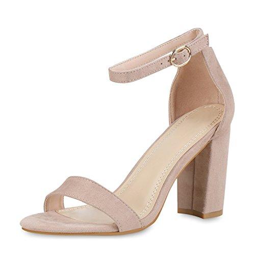 SCARPE VITA Damen Riemchensandaletten High Heels Sandaletten Basic Party Schuhe Wildleder-Optik Absatzschuhe Abendschuhe 160808 Creme 39