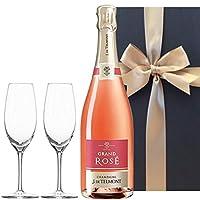【お祝い】 誕生日 結婚祝い 結婚記念日 【ペアシャンパングラス付きセット】 シャンパンロゼ「グラン・ロゼ・ブリュット」750ml フルートシャンパン2個付き ギフトボックス入り
