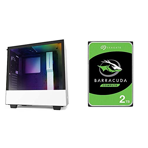 NZXT H510i - CA-H510i-W1 - Compact ATX Mid -Tower PC Gaming Case - Front I/O USB Type-C Port & Seagate Barracuda 2TB Internal Hard Drive HDD – 3.5 Inch SATA 6Gb/s 7200 RPM 256MB Cache 3.5-Inch