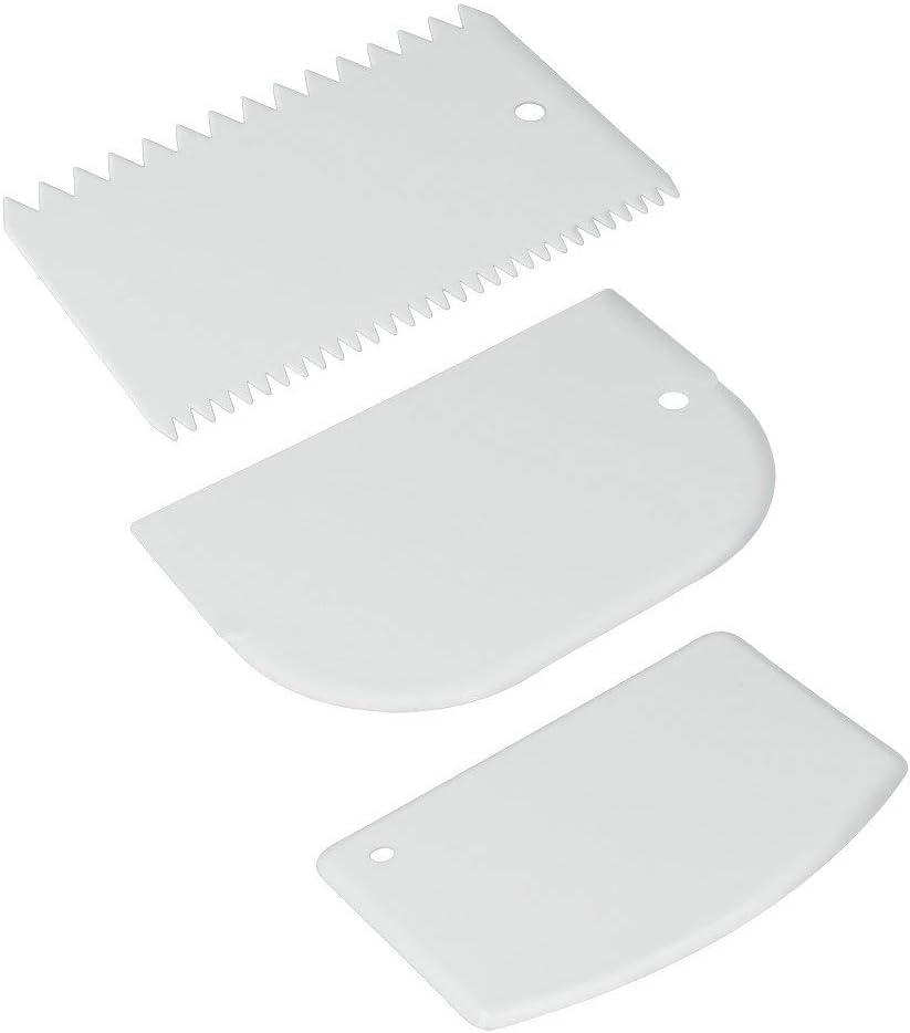 Metaltex Juego 3 ESPATULAS PLASTICO REPOSTERIA, Color Blanco, Estandar