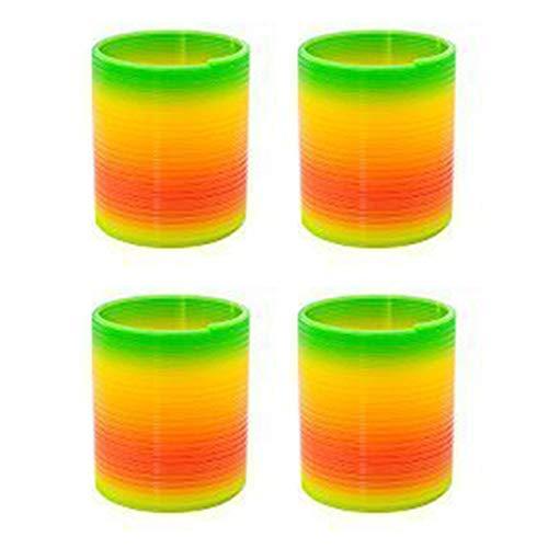 Amasawa 4 Stück Regenbogenspirale Springs Magic Rainbow Puzzle Lernspielzeug für Party Tasche Füllstoffe Spielzeug, KunststoffRainbow Kreis Spielzeug