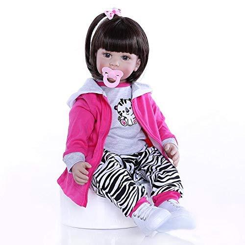 GAOFQ 60cm 24 Pulgadas Realista Suave Silicona Vinilo Reborn Baby Girl Doll con Pelo Corto Marrón 6-9M Real Baby Size Girl Doll Kids Education Playhouse Doll Collectible Toy