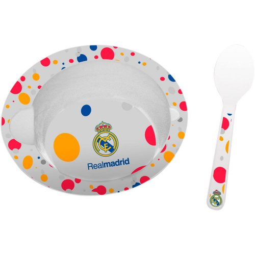 Real Madrid - Set cuenco y cuchara microondas, 15 cm (Seva 9201056)