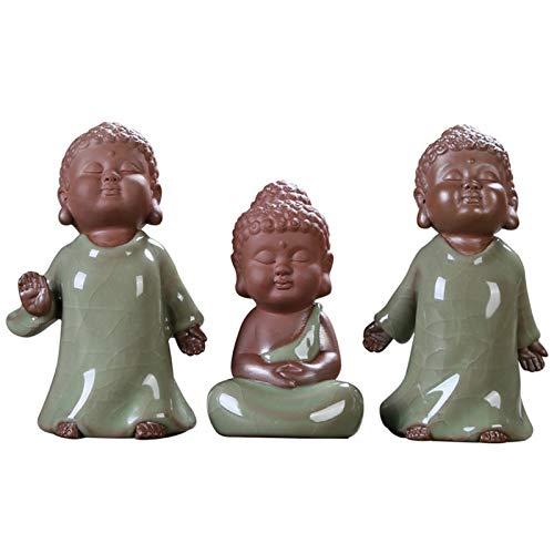 Conjunto de Estatua Buda Lindo Figurita de Monje, Cerámico Mascota de Té Chino Adornos de Yoga para Casa Oficina Estudiar Adornos de Coche,3 pcs