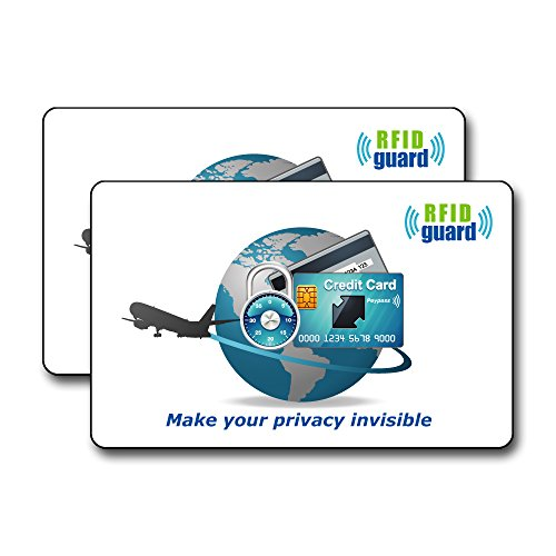 海外旅行用品にクレジットカードや銀行カード、ICカードなどをスキミング被害や電子マネースリから守るカード! 厚さ0.3mm   RFID Guard カード 2枚入り