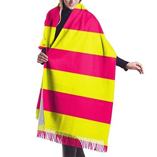 shenguang Bright Neon Pink und Gelb Horizontal Cabana Zeltstreifen Damen Oversiz Schal oder Warm Wrap Winterschals Decke Schal Pashmina Cape