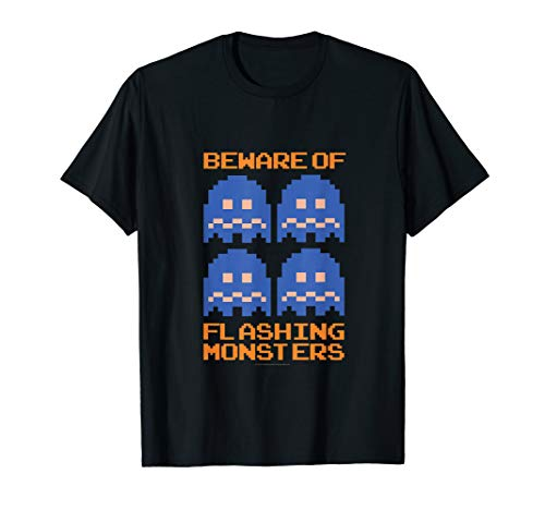 Official Pac-Man Ghosts Beware of Flashing Monsters T-shirt for Adults, Kids, up to 3XL
