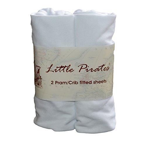 2 x Baby Pram/Crib/ Moses Basket Jersey Fitted Sheet 100% Cotton White 40x80cm