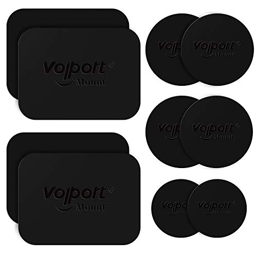 Metal Plate for Phone Magnet, 10 Pack Volport MagicPlate with 3M Adhesive Replacement for Magnetic Phone Car Mount Holder & Cradle & Stand ( Vent / CD / Windshield / Dashboard ) - Rectangle and Round