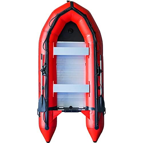 Emaxusa Inflatable Boat Aluminum Floor Aluminum Transom 4 Person Professional Saltwater Fishing Boat (330cm / 10.8ft)