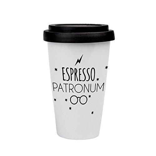 VISUAL STATEMENTS® hochwertige to-Go Kaffee mit Spruch/Verschiedene Motive und Designs/mit Deckel/Kaffeebecher/Teebecher/Mug/Cup/Qualitätsporzellan (Espresso Patronum)