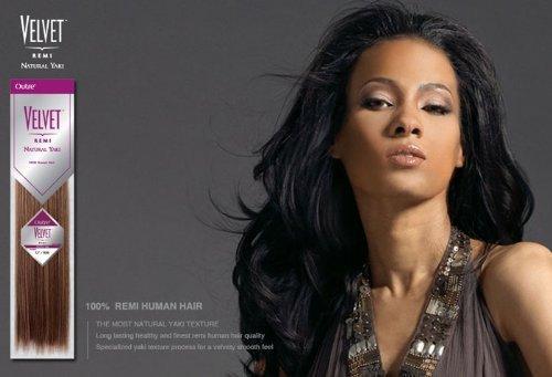 """Outre Velvet Remi Hair Extension 12"""" Natural Yaki #1B/30"""