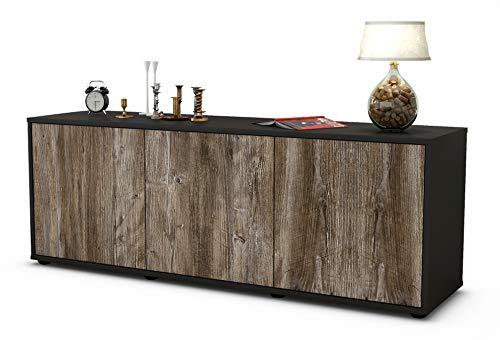 Stil.Zeit Möbel TV Schrank Lowboard Allegra, Korpus in anthrazit matt/Front im Holz Design Treibholz (135x49x35cm), mit Push to Open Technik, Made in Germany