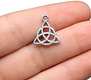 10 Celtic Knot Charms Antique Silver Tone 2 Sided Simple Yet Classic - SC2088