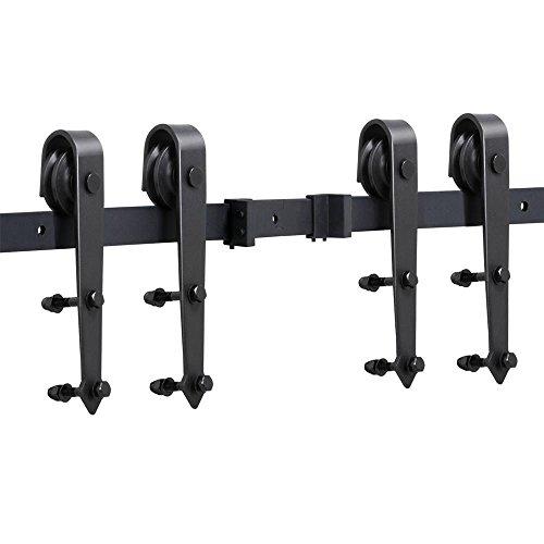 Yaheetech Schiebetürbeschlag Set Schiebetürsystem Laufschiene mit Abstandshalter Montage-Set 488 cm