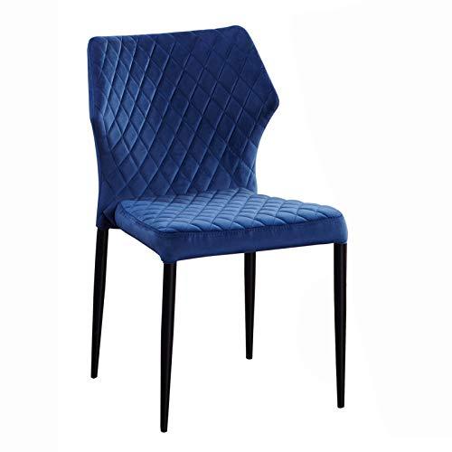 AINPECCA Esszimmerstuhl aus Samt, gepolstert, mit Metallbeinen, Retro-Design (Marineblau, 1)