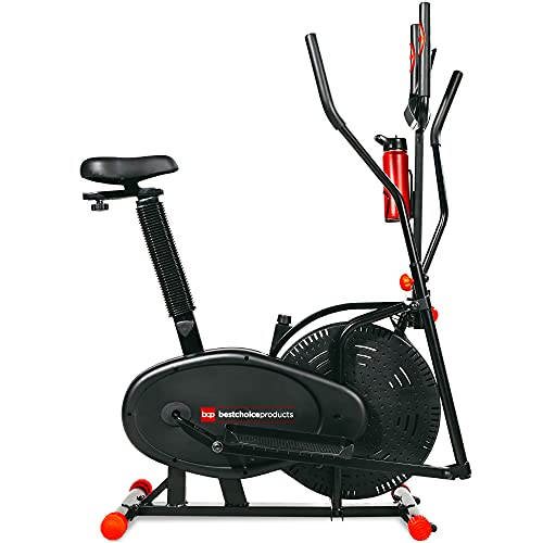 Best Choice Products 2-in-1 Elliptical Trainer Exercise Bike, Home Fitness Machine w/LCD Screen, Adjustable Seat, Tension Knob, Heart Rate Monitor, 220lb Capacity