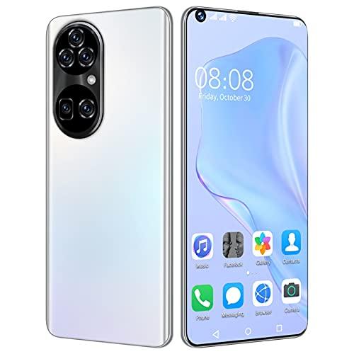 KKAAMYND P50Pro + 5G Teléfonos móviles de 6,7 Pulgadas Pantalla Completa HD 32MP + 50MP 680 0mAh 4GB + 64GB Teléfono Celular Smartphone Android11 Face Reconocimiento (Color : White)