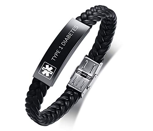 XUANPAI Custom Stainless Steel Leather Braided Wrap Wristband Medical Alert Emergency ID Bracelet for Men Engraved with Type 1 Diabetes
