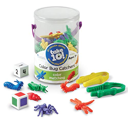 Learning Resources Take 10! Color Bug Catchers, Fine Motor Skills, For 2-4 Players, Ages 3+