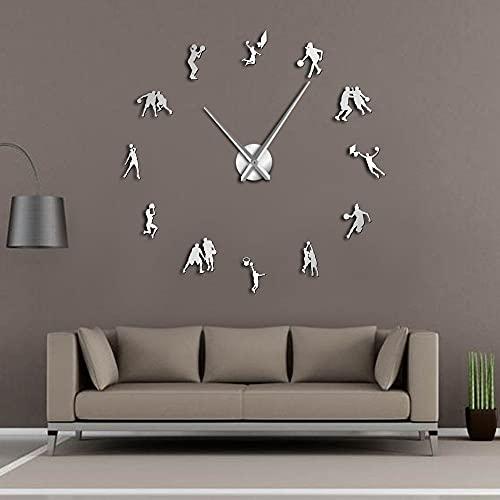 Jugadores de baloncesto DIY Reloj de pared grande Deportes Salm Dunk Decorativo Gigante Relojes de Pared Reloj Espejo Efecto Baloncesto Regalo (Plata, 27 pulgadas)