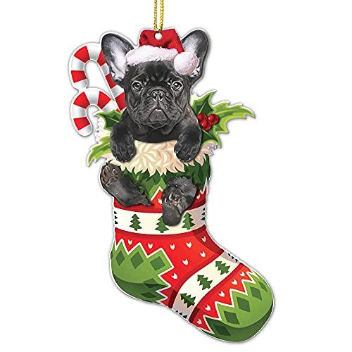 Crazytops Funny French Bulldog Black Christmas Tree Ornament - French Bulldog Black Lovers Gift Idea Xmas Decor - 2 Side Printed - Cute French Bulldog Black Christmas Tree Socks