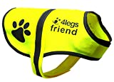 4LegsFriend Dog Safety Yellow Reflective Vest With Leash Hole 5 Sizes - High Visibility for Outdoor Activity Day and Night, Keep Your Dog Visible, Safe From Cars & Hunting Accidents (Small)
