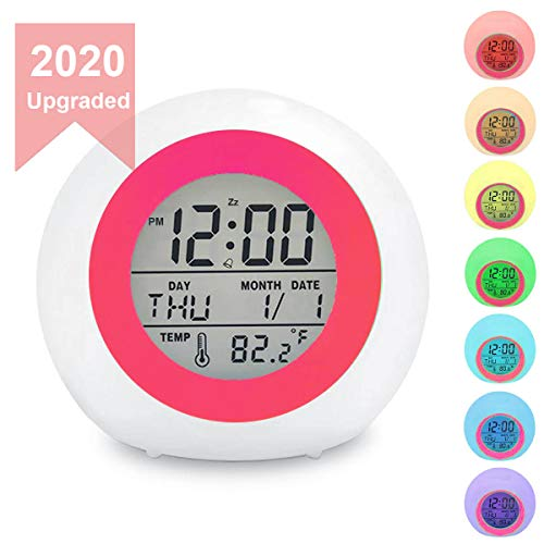 Kids Digital Alarm Clock, 7 Color Night Light, Snooze, Temperature Detect for Toddler, Children Boys and Girls, Students to Wake up at Bedroom, Bedside, Batteries Operated (RED)