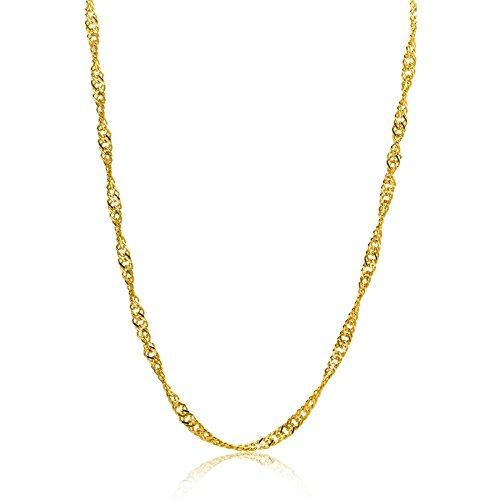 Orovi Damen Halskette 8 Karat (333) GelbGold Singapurkette Goldkette 1,4mm breit 45cm lange