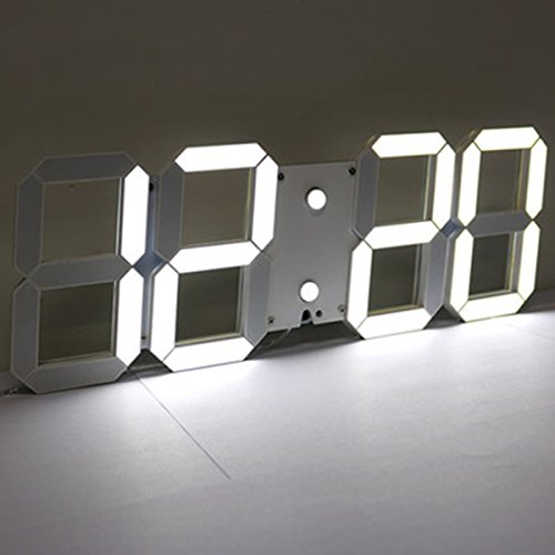 EsportsMJJ 3D acryl wit grote digitale LED skeletklok wandklok timer 24/12 nu display