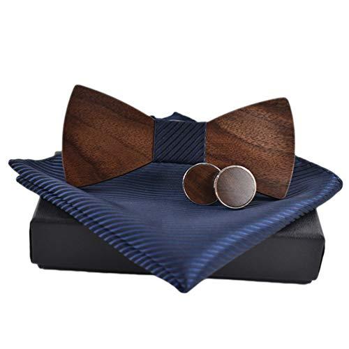 Haobing Noeud Papillon Homme Boutons de Manchette Cravate Set Cravate en Bois avec Sangle Ajustable, Pre Tied Nœud Papillon (12 * 5.4cm, Bleu#5)