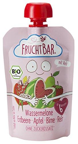 Fruchtbar Bio-Fruchtpüree Wassermelone Erdbeere Apfel Birne Reis, 8er Pack (8 x 100 g)