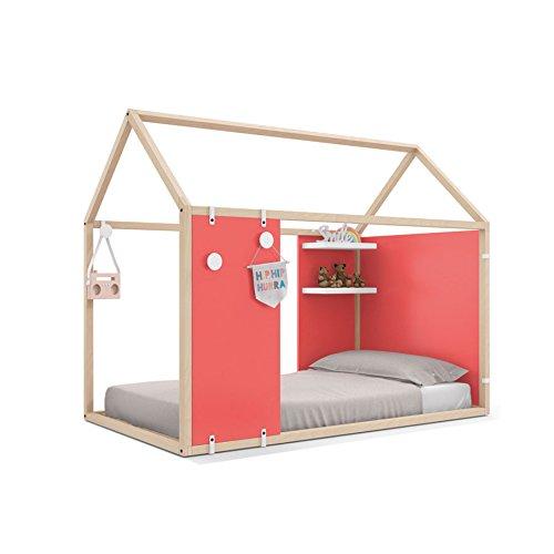 Möbel Ros Bett Haus Geschlossen mit der Regalen und Stangen Kleiderschrank–158,5x 202x 102cm–Buche/Koralle