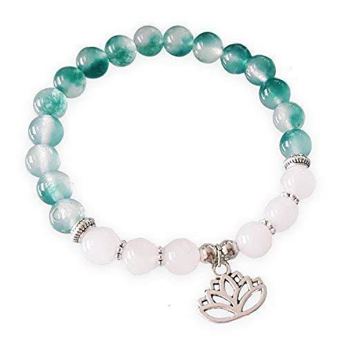 SataanReaper Presents Selenite Healing Beads Yoga Reiki Silver Lotus Charm Natural Stone Unisex Spiritual Energy Strand Bracelet for Men/Women/Boys/Girls #SR-2565