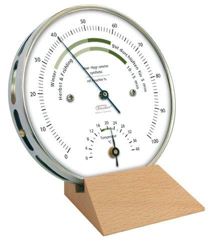 Wohnklima-Hygrometer von Fischer, Life-Serie, Edelstahlgehäuse 100mm mit Thermometer und Holzsockel, Artikel 122.01HT-02, Made in Germany