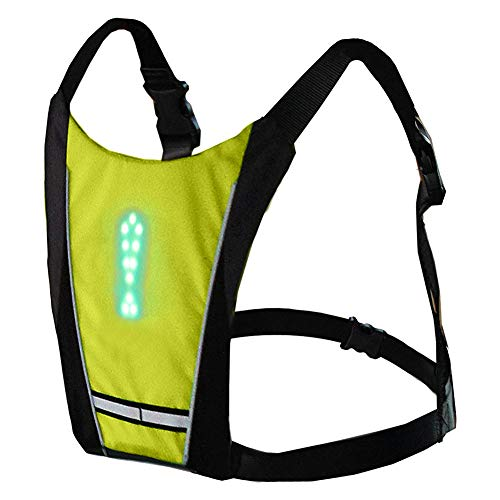 Fahrrad Reflektierende Weste mit LED Blinker Licht Drahtlose Fernbedienung, Nacht Warnschutzweste für Joggen, Radfahren, Motorradfahren