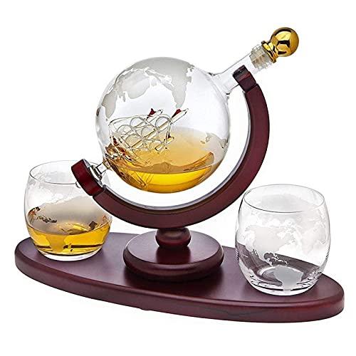 Globe Decanter with Ship - Juego de decantador de whisky, con 2 vasos, dispensador de licor de bebidas para licor, whisky, Bourbon regalo