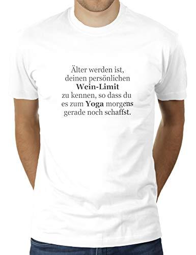 Älter Werden ist, deinen persönlichen Wein-Limit zu kennen, so DASS du es zum Yoga morgens gerade n - Herren T-Shirt von KaterLikoli, Gr. XL, Weiß