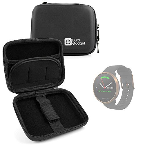 DURAGADGET Funda Rígida Compatible con Smartwatch Suunto Spartan Sport Wrist HR, Suunto 9 Baro, Polar Ignite, Montblanc Summit 2 + Mini Mosquetón - Negra