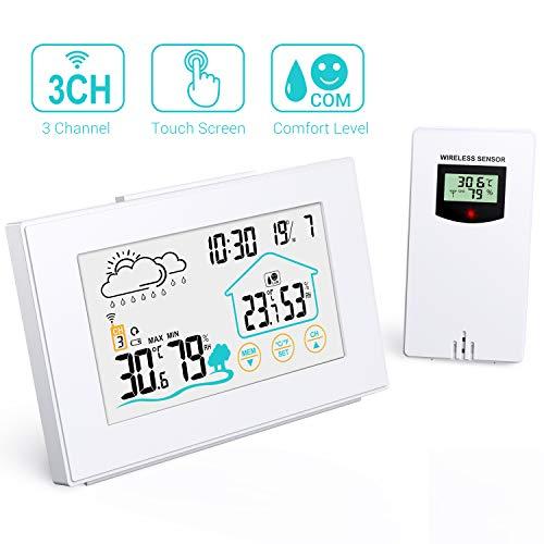 Quntis Wetterstation Funk mit Außensensor, Thermometer Hygrometer Digital Innen und Auße Multifunktionale Funkwetterstation mit Uhrzeitanzeige, Wettervorhersage Wecker und Nachtlicht(Weiss)